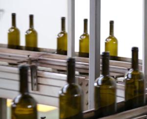 Glass bottles going through inspection