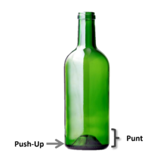 image showing the punt and push-up of a glass bottle